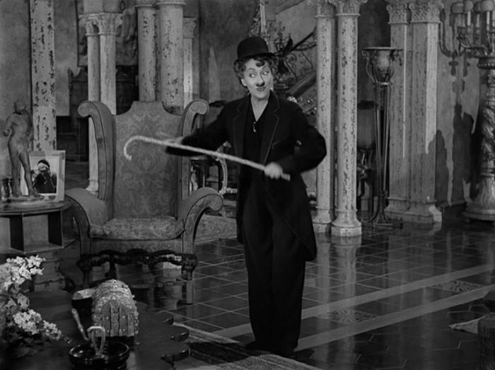 Norma impersonates Chaplin