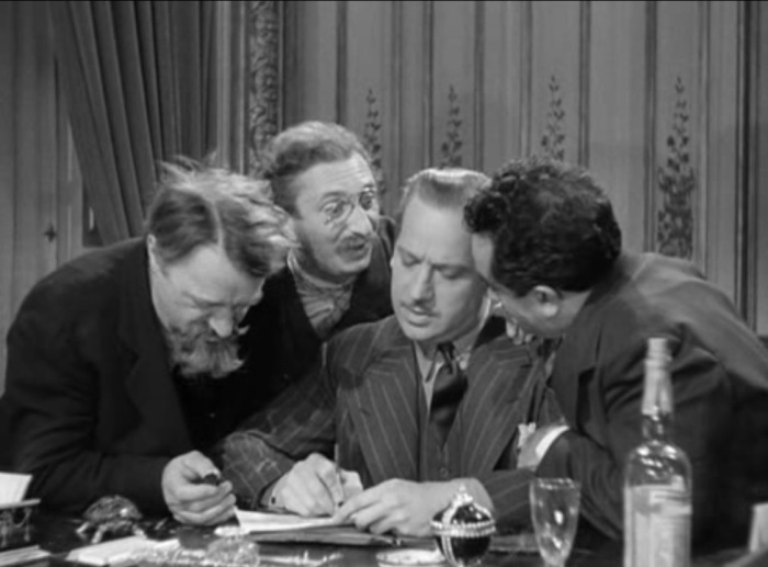three comrades kiss the Count